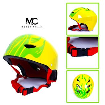 Motor Craze HNJ Green Flame Half Face Crash Safety Passenger Helmet