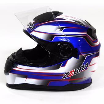 Motor Craze ZEBRA FF801 #24 Fullface Motorcycle Helmet (Navy Blue) - 2
