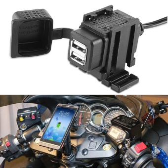 Motorcycle 2.1A Waterproof SAE to Dual USB Charger Kit withExtension Harness For Smart Phone - intl