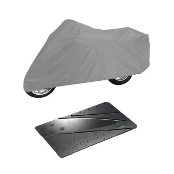 Motorcycle Cover (Gray) with Credit Card Type Folding Safety Knife