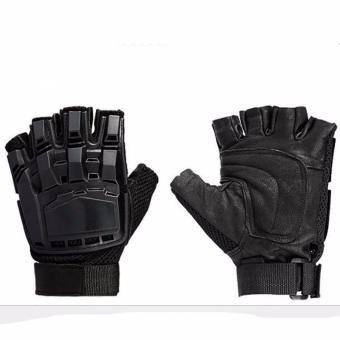 Motorcycle Gloves Protect Hands Half Finger Leather Breathable Glove Anti-slip Protective Motocross Gloves-L Size - intl