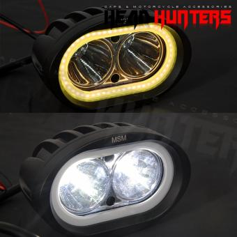 Motorcycle WALL-E Fog Headlight with Yellow ParkLight (Black)