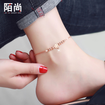 MOVSOINA 18k fashion Japanese and Korean style plated rose gold anklets foot chain