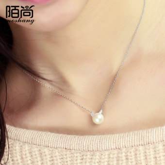 MOVSOINA Korean-style female kitten pearl choker silver necklace