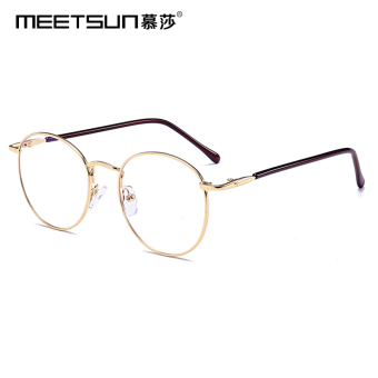 Mu Shahan version for men and women round frame plain mirror radiation glasses