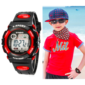 Multifunction Waterproof Child Boy Girl Sports Electronic Wrist Watch Red