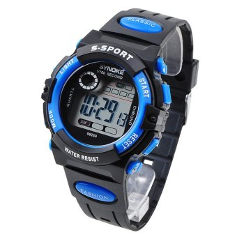 Multifunction Waterproof Kids Boys Girls Sports Electronic Digital Watch Watches Blue