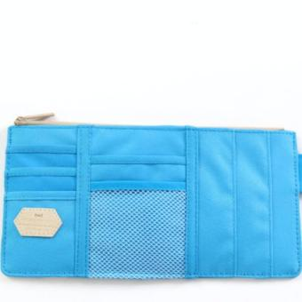 Multipurpose Car Sun Visor Zipper Pouch Organizer Pocket (LightBlue)