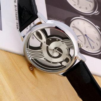 Music Notation Womens Men Quartz Watches PU Leather Analog Wristwatch Black - Intl - 4
