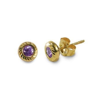 MyGold 14K Italian Gold Kids Stud Earrings, 5.5mm, Amethyst cubic zirconia - February birthstone