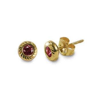 MyGold 14K Italian Gold Kids Stud Earrings, 5.5mm, Garnet cubic zirconia - January birthstone