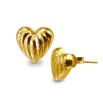 MyGold 18K Saudi Gold Heart Stud Earrings