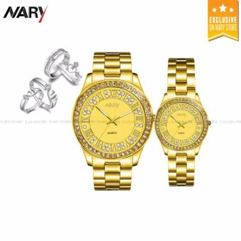 NARY 1005 Lover's Fashion Steel Strap Quartz Watch (Gold) With S925 Couple Rings(ONE SIZE)/ J040 Couple Rings(ONE SIZE)