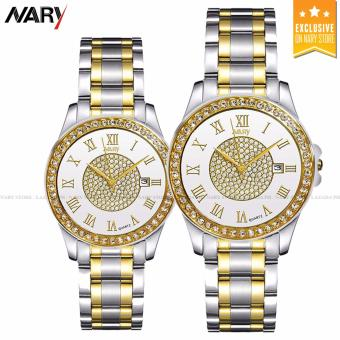 NARY 1006 Couple's Fashion Steel Digital scale Strap Quartz Watch (Silver+White)