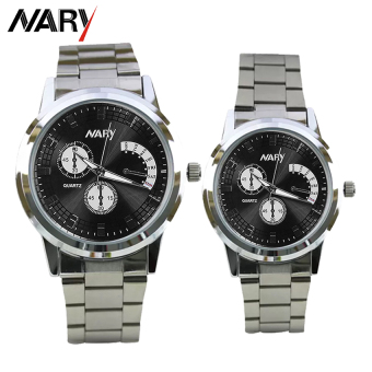 NARY 6017 Couple's Fashion Stainless Steel Strap Wristwatch (Silver/Black)