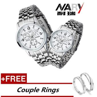 NARY 6033 Dial Classic Couple Lover Women Men Quartz Full Stainless Steel Wrist Watch white ( with Free Adjustable Lovers Rings ) - intl