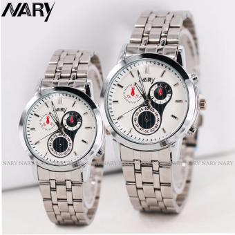 NARY 6041 Couple's Stainless Steel Strap Wristwatch (Silver/White)