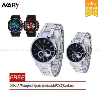 NARY 6053 Luxury Stainless Steel Quartz Couple Wristwatch (Black) With Free XINJIA Waterproof Sports Wristwatch PCS2(Random)