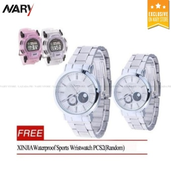NARY 6053 Luxury Stainless Steel Quartz Couple Wristwatch (White) With Free XINJIA Waterproof Sports Wristwatch PCS2(Random)