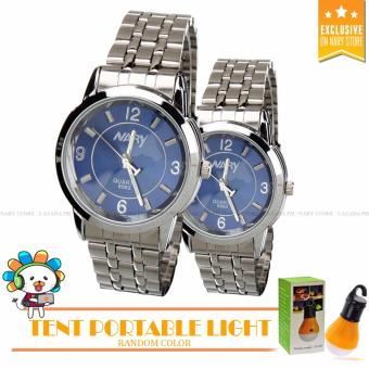 NARY 6063 Lovers Silver/Blue Stainless Steel Strap Watch with Free Random Design YG-300 Camping Tent Portable Light