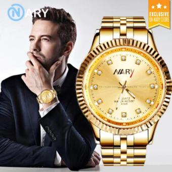 NARY 6068 Men's Fashion Gold Steel-belt Quartz Watch(Gold)