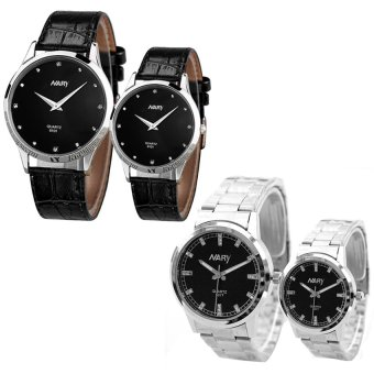 NARY 6077 Couple Black Stainless Steel Strap Watch With Nary 6101 Couple Black Leather Strap Watch