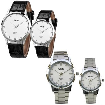 NARY 6077 Couple Stainless Steel Strap Watch (White) With 6101 Couple Leather Strap Watch (White)
