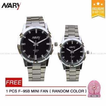 NARY 6077 Couple's Stainless Steel Strap Watch(Black)with Free F-95B MINI FAN 1PCS (Random color)