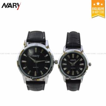 NARY 6090 Lover's Black Leather Strap Quartz Couple Watch