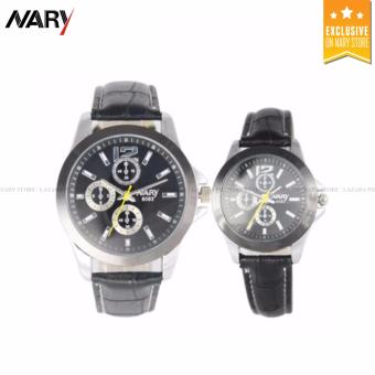 NARY 6093 Lover's Casual Black Leather Strap Quartz Couple Watch