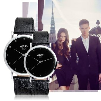 NARY 6097 Couple's Black Leather Strap Wristwatch With Arabic Numerals