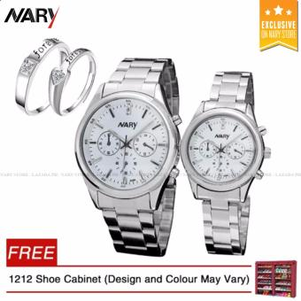 NARY 6098 Couple White/Silver Stainless Steel Strap Watch + 8814 Adjustable Fashion Lovers Rings with Free 1212 Shoe Cabinet (Design and Colour May Vary)
