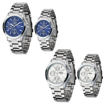 NARY 6104 Couple's Digital Stainless Steel Strap Quartz Watch Set of 2