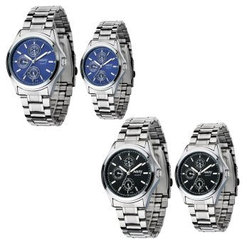NARY 6104 Couple's Digital Stainless Steel Strap Quartz Watch Setof 2