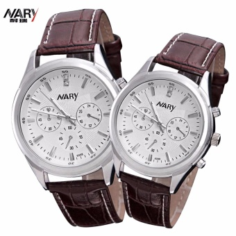 NARY 6125-98 Lovers'classical Leather-belt Quartz Couple Watch
