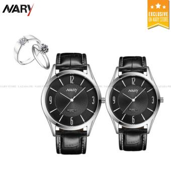 NARY 6125 Lovers' Fashion Leather Strap Quartz Couple Watch(Black) with Free E013 Fashion Opening Couple Rings Lover's Bands