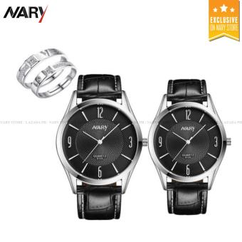 NARY 6125 Lovers' Fashion Leather Strap Quartz Couple Watch(Black) with Free E027 Fashion Opening Couple Rings Lover's Bands