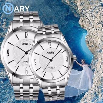 NARY 6125 Lovers'classical Steel-belt Quartz Couple Watch