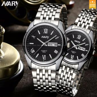 NARY 8003 Couple's Fashion Steel Strap Wristwatch (Black)