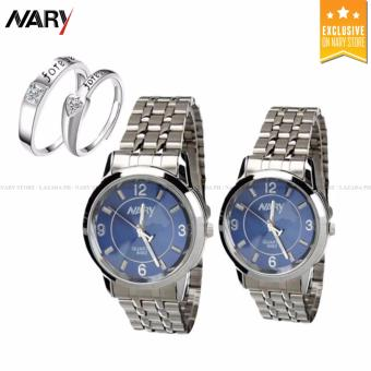 NARY Couple Blue/Silver Stainless Steel Strap Watch 6063 with Free 8814  Adjustable Fashion Lovers Rings