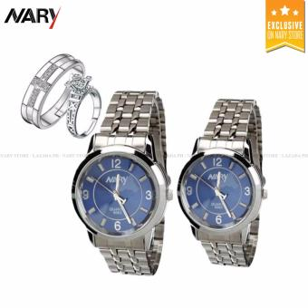 NARY Couple Blue/Silver Stainless Steel Strap Watch 6063 with Free PY-1 Adjustable Fashion Lovers Rings