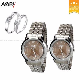 NARY Couple Brown/Silver Stainless Steel Strap Watch 6063 with Free 8814 Adjustable Fashion Lovers Rings