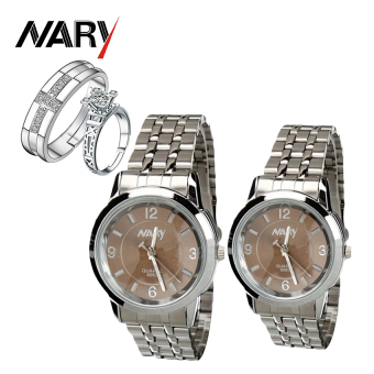NARY Couple Brown/Silver Stainless Steel Strap Watch 6063 with Free PY-1 Adjustable Fashion Lovers Rings