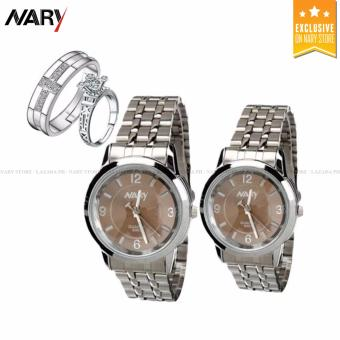NARY Couple Brown/Silver Stainless Steel Strap Watch 6063 with Free PY-1 Adjustable Fashion Lovers Rings - 2