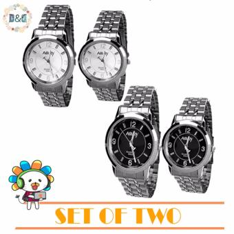 NARY Couple Stainless Steel Strap Watch 6063 Set of 2?Silver/Black ?