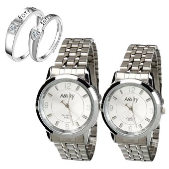 NARY Couple White Stainless Steel Strap Watch 6063 With LX-JZ8814 Adjustment Fashion Couple Ring