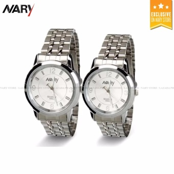 NARY Couple White/Silver Stainless Steel Strap Watch 6063