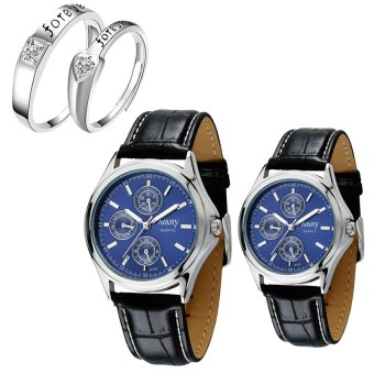 NARY Couple's Blue Digital Leather Strap Quartz Watch With LX-JZ8814 Adjustment Fashion Couple Rings