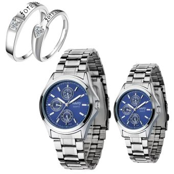 NARY Couple's Digital Blue Stainless Steel Quartz Watch With LX-JZ8814 Adjustment Fashion Couple Rings