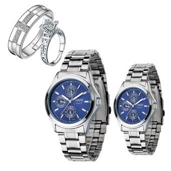 NARY Couple's Digital Blue Stainless Steel Quartz Watch With PY-1 Opened Couple Rings